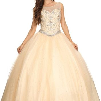 Champagne Scoop Neck Jeweled Bodice Lace Up Back Mesh Quinceanera Dress
