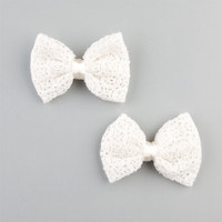 Full Tilt 2 Piece Crochet Bow Hair Clips Ivory One Size For Women 22882416001