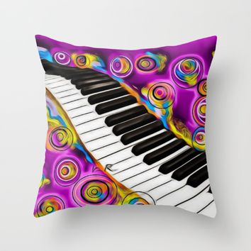 PIANO FLOWS Throw Pillow by violajohnsonriley