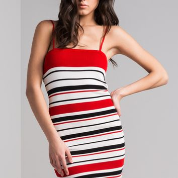 AKIRA Bodycon Straight Neckline Striped Mini Dress in Red
