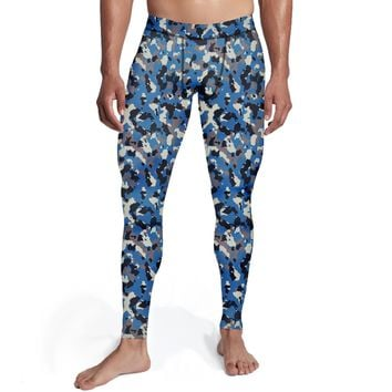 Men's Blue Camo Tights