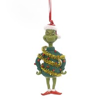 Holiday Ornament Grinch Tinsel Sweater Resin Ornament