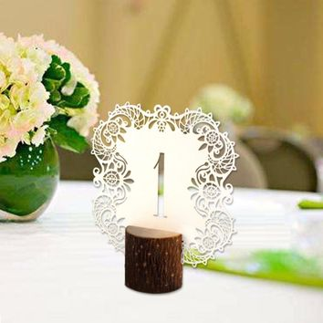 Ourwarm 10pcs/set Rustic Wedding Table Number Table Cards with Wooden Holder Vintage Wedding Decoration Event Party Supplies
