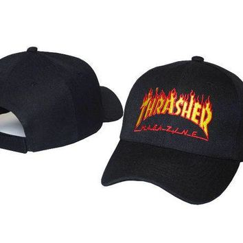 Letter Embroided Flaming Thrasher Baseball Cap Strapback Fishing Cap Summer Sun Hat Black Fitted Trucker Cap
