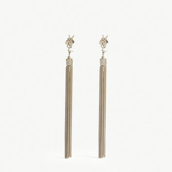 SAINT LAURENT Logo tassel drop earrings
