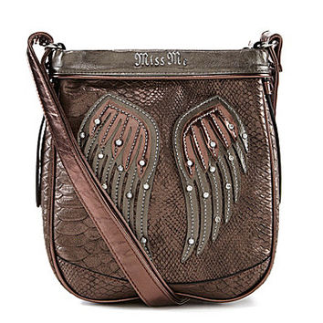 Miss Me Gabby Embellished Angel Wings Cross-Body Bag - Bronze