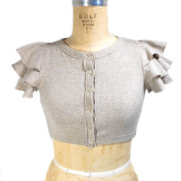 1990s Moschino Cheap and Chic Ruffled Cropped Sweater - Cropped Cardigan - Champagne Silver Lurex - Deadstock NOS NWT - Size 6