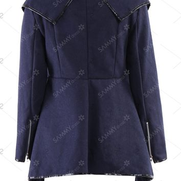 Long Sleeves Solid Color Asymmetric Stylish Wool Coat