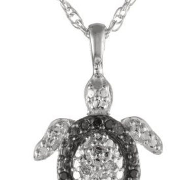 Sterling Silver Diamond Black and White Turtle Pendant Necklace