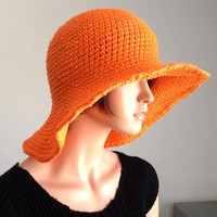 Large Brimmed Cotton Sun Hat. Crochet Cotton Beach Hat, Summer Fashion Hat. Derby Fashion Hat