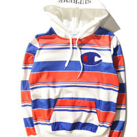 Supreme & Champion Hoodies Hip-hop Stripes Cotton Sweatshirt