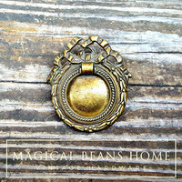 Laurel Wreath Drawer Pull Ribbon & Bow Drawer Pull Keeler Brass Co Cabinet Hardware Farmhouse Furniture Pull Antiqued Gold Hepplewhite Pull