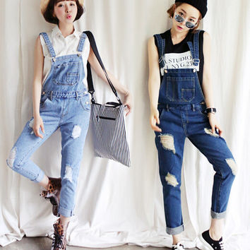 2016 New Women Denim Loose Jumpsuit Fashion Full Length Hole Suspenders Casual Jeans Jumpsuits SK-096