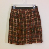 Vintage 90s Clueless Mini Skirt, Tweed Mini Skirt with Leather Trim, Wool Plaid Skirt 1990s by Express