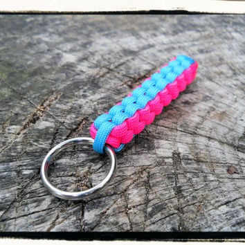 Pink Blue Paracord Keychain