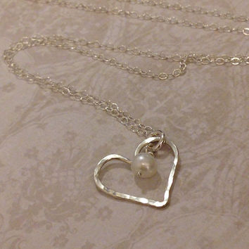 Heart Necklace/Hammered Heart/Sterling Silver