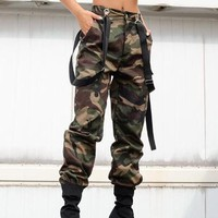 New Army Green Camouflage Shoulder-Strap Pockets High Waisted Cargo Casual Overall Long Pants