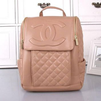 CHANEL Women College Leather Satchel Backpack Bookbag-1