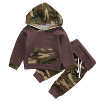 Camouflage Kids Baby Winter Christmas Clothes Set Newborn Baby Boys Girls Warm Outfits shirt Hoodie Top + Pant Leggings 2pcs