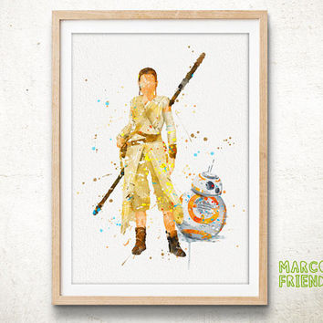 Rey and BB-8, Star Wars - Watercolor, Art Print, Wall Art, Gift Idea, Home Decor, Watercolor Decorations, Star Wars Poster