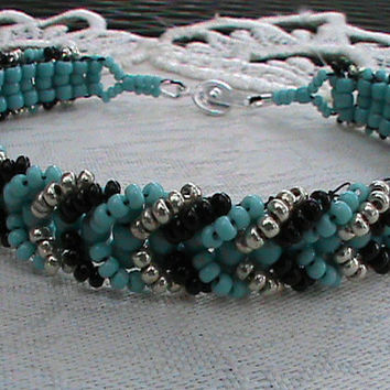 Turquoise black and silver chevron seed bead bracelet