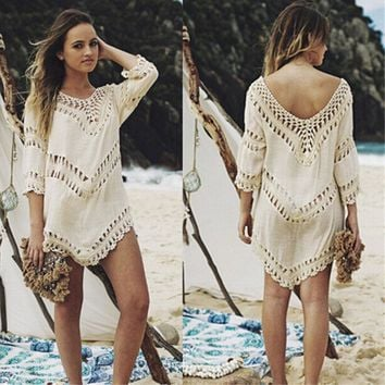Jeebel Crochet Cover Up Beach Dress Swimsuit Beachwear Women Beach Ladies Tunic Praia Poncho swim skirt beach top
