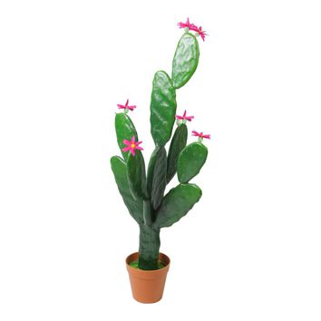 "31"" Artificial Prickly Pear Cactus Plant with Bright Pink Flowers"