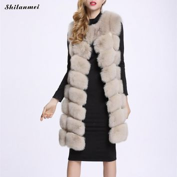 2017 New Winter Warm Luxury Long Fur Vest for Women Faux Fur Coat Vests Women's Coats Jacket Furry Coat Plus Size Gilet Veste