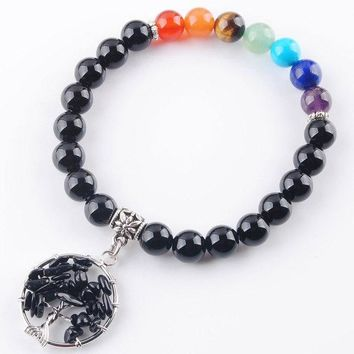 WOJIAER Free Shipping Natural Gem Stone Bracelet Mala Beads Tree Of Life Charms Meditation Ethnic Jewelry LBK330
