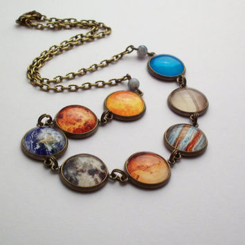 Planet Necklace, Solar System Necklace, Space Necklace, Universe Necklace