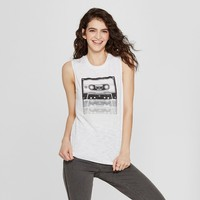 Women's Maxell Cassette Tape Muscle Graphic Tank (Juniors') White