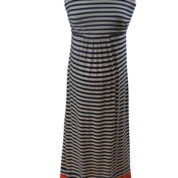 Blue & White Striped Sleeveless Maxi Dress by Old Navy