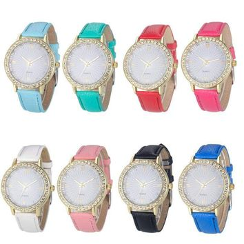 GENVIVIA Fashion Rhinestones Analog Leather Quartz Wrist Watch