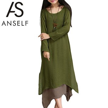 Anself Plus Size Summer Maxi Dress Vintage Long Sleeve Women Cotton Linen Beach Long Dress Female Causal Boho Dresses Vestidos