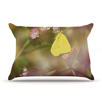 "Robin Dickinson ""Butterfly Kisses"" Green Purple Pillow Case"