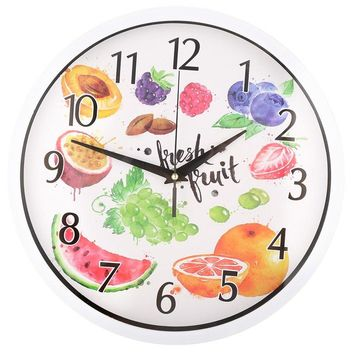 12 inch Clock, Modern Kitchen Wall Clock Fruit Themed.