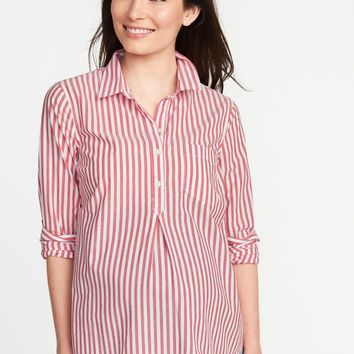 Maternity Relaxed Popover Shirt | Old Navy