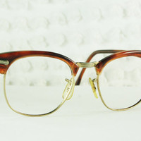 60s Mens Glasses 1960's Browline Eyeglasses Translucent Brown Yellow Gold Wire Rim Combination Frame 50/20 Shuron Optical Clubmaster Unisex
