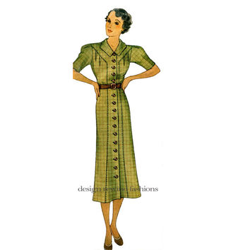 1930s DRESS PATTERN Front Button Shirtwaist Day Dress Short Long Sleeves Bust 38 McCall 8706 Depression Era Womens Vintage Sewing Patterns