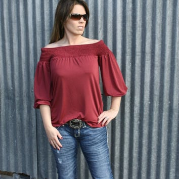 Red Wine Off the Shoulder Blouse