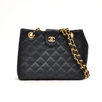Authentic CHANEL Satin Chain CC Logo Shoulder Bag