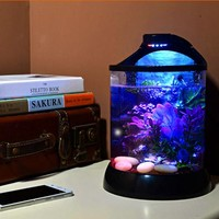 mini desktop 3D background betta tank ecological aquarium with LED,water pump fish bowl