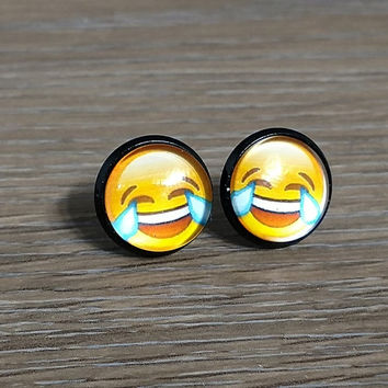 Emoji earrings-  Happy and crying face- in black earrings