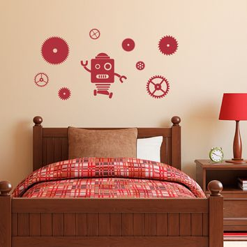 Robot and Gears Decal Set - Gears Wall Decal - Robot Wall Sticker - Boy Bedroom Decor - Medium