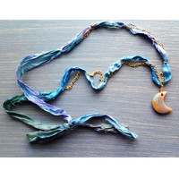 Bohemian Silk & Gold Wire Wrapped Crescent Moon Necklace
