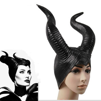 Genuine latex maleficent horns adult women halloween party costume jolie cosplay headpiece hat