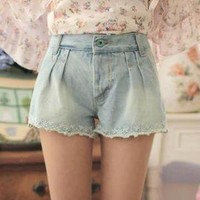 YESSTYLE: Goodies- Laced-Trim Denim Shorts - Free International Shipping on orders over $150