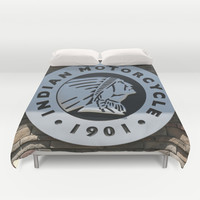 Indian Motorcycle Emblem Duvet Cover by Veronica Ventress