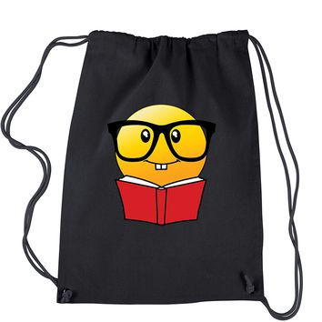 Emoticon Book Nerd with Glasses Drawstring Backpack