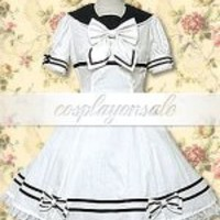 Cotton White Lace Bow School Loltia Dress [T110307] - $73.00 : Cosplay, Cosplay Costumes, Lolita Dress, Sweet Lolita